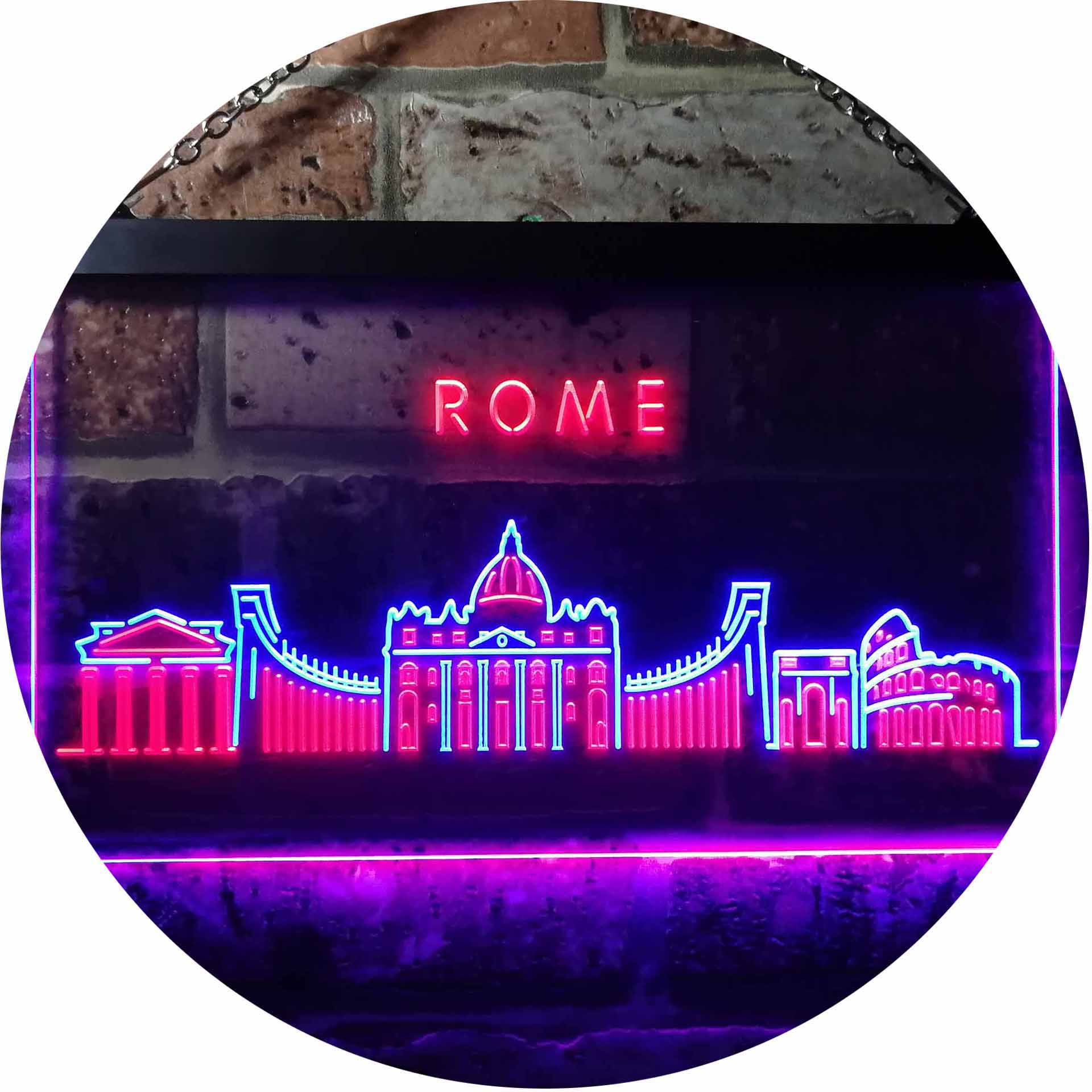 Rome City Skyline Silhouette Dual Color LED Neon Sign st6 ...